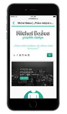 Zobrazení responzivního webu na mobilním telefonu