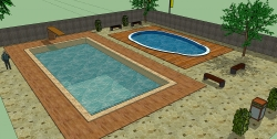 Ukázka návrhu úpravy a typu bazénu v SketchUp Pro 2015