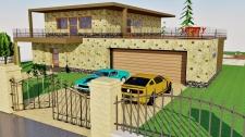 Vyrenderovaná scéna (vizualizace) návrhu stavby